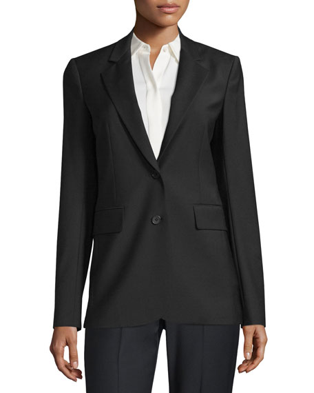 Theory Aaren Continuous Wool-Blend Jacket, Black