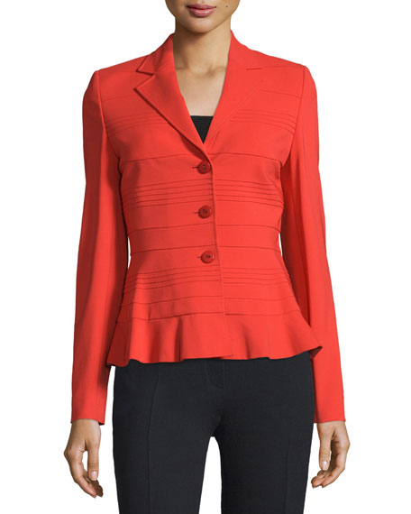 Escada Three-Button Slim-Fit Jacket, Carmine