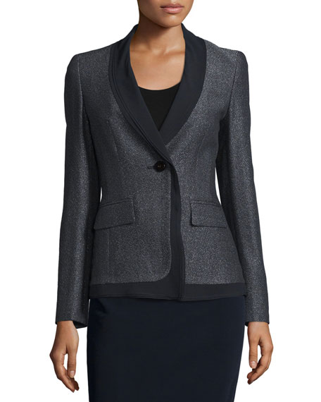Escada Shawl-Collar Two-Tone Jacket, Black