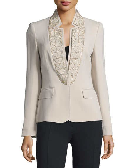 Escada Embellished Stand-Collar Jacket, Solitaire