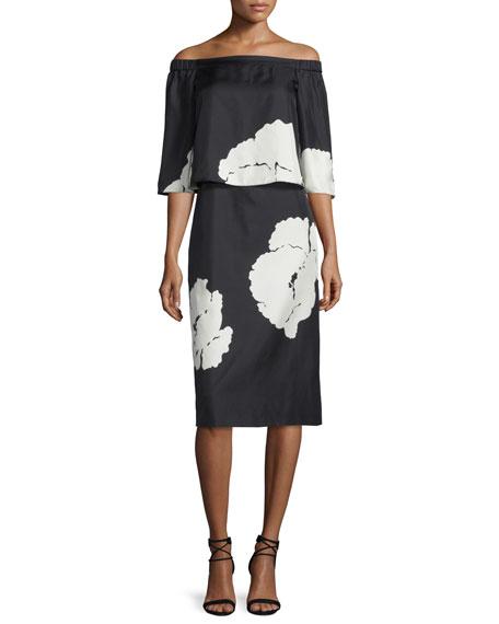 Tibi Amara Printed Popover Dress, Black