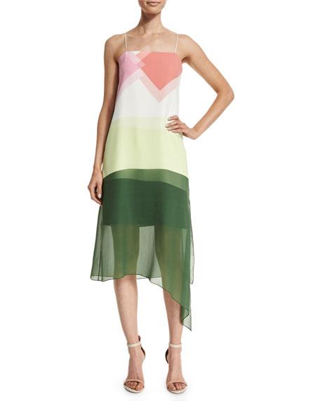 Tibi Pieze Colorblock Slip Dress, Candy Pink/Multicolor