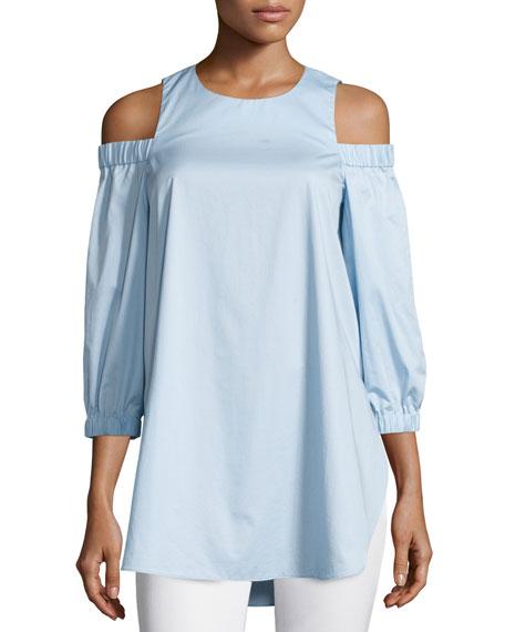 Tibi Satin Poplin Cold-Shoulder Blouse, Morning Blue