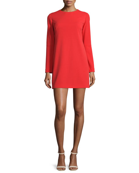 TibiLong-Sleeve Structured Crepe Dress, Scarlet Red