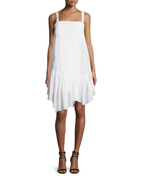 Tibi Sleeveless Pleated Silk Shift Dress, Ivory
