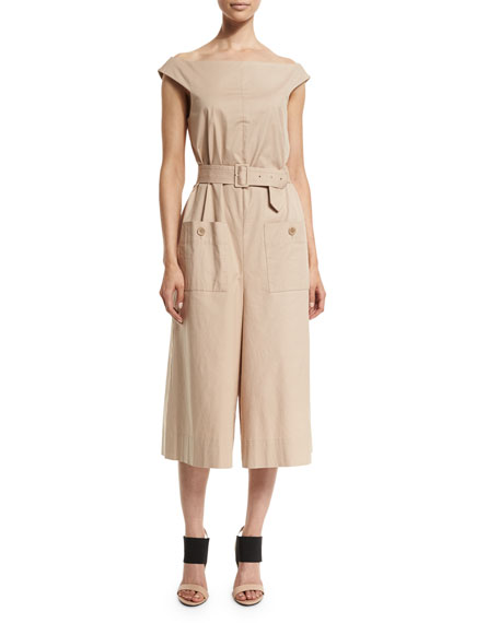 TibiEsteban Off-the-Shoulder Twill Jumpsuit, Sand Dollar