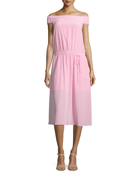 Tibi Silk Off-the-Shoulder Midi Dress, Pink