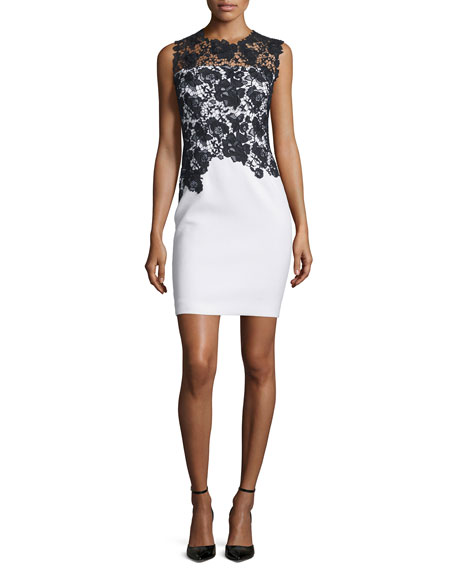 Elie Tahari Weslee Sheath Dress with Lace Bodice
