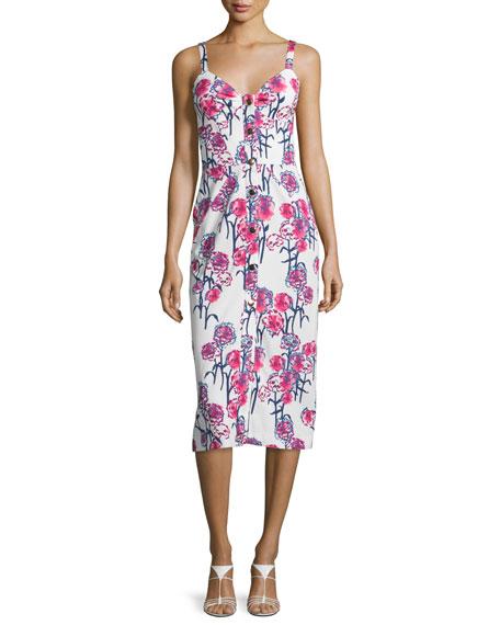 Tanya Taylor Sleeveless Gardenia-Print Midi Dress, White/Hibiscus