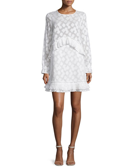 Tanya Taylor Simi Long-Sleeve Fil Coupe Dress, White