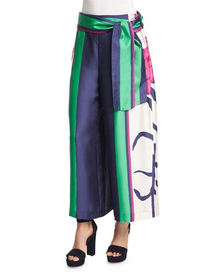 Tanya Taylor Tilda Floral Silk Wide-Leg Pants, Hibiscus/Emerald