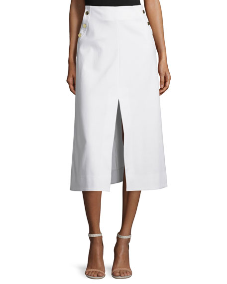 Tanya Taylor Ines Stretch Twill Midi Skirt, White