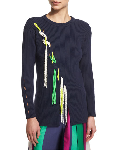 Tanya Taylor Jane Ribbed Tassel-Trim Pullover Sweater, Midnight