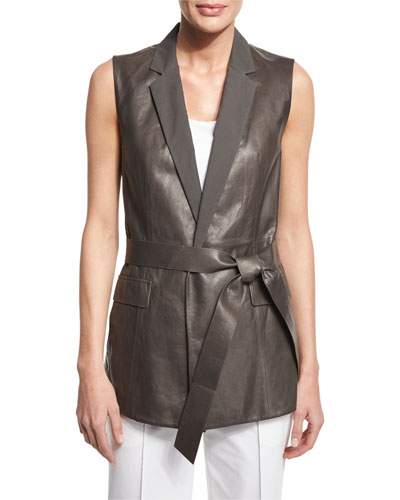 Scarlet Tailored Leather Tie-Waist Vest
