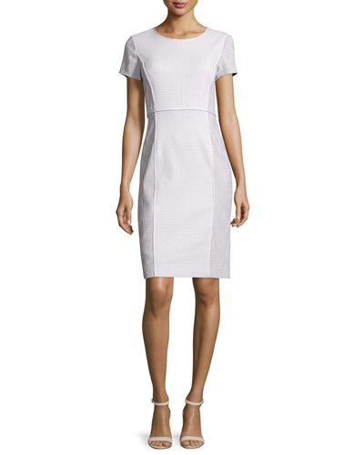 Jones Short-Sleeve Sheath Dress, Cloud/Multi
