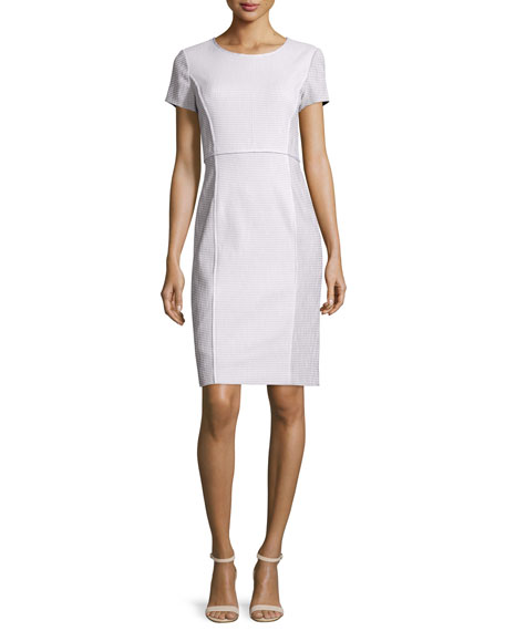 Lafayette 148 New York Jones Short-Sleeve Sheath Dress, Cloud/Multi