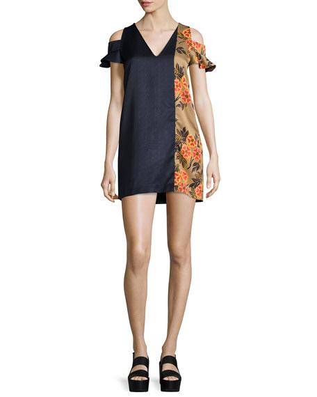 MSGM Floral-Trim Hammered Satin Cold-Shoulder Mini Dress, Black/Multicolor