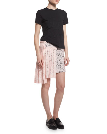 Lace Asymmetric-Pleated Pencil Skirt, Pink
