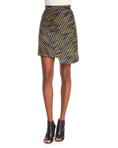 MSGM Optical Textured Asymmetric Skirt, Multicolor