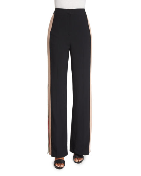 MSGM Colorblock Side-Stripe Wide-Leg Pants, Black
