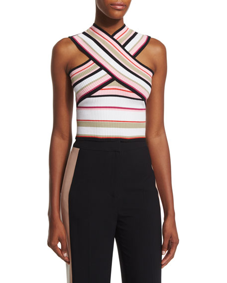 MSGM Striped Ribbed Cross-Front Top, Multicolor