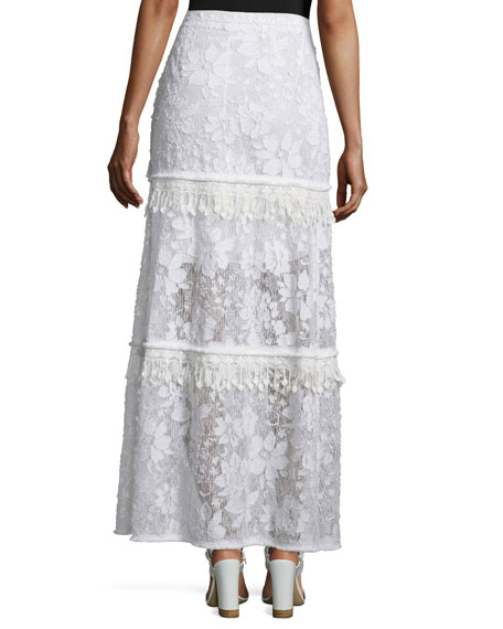 Tayla Tiered Floral Lace Skirt, Optic White