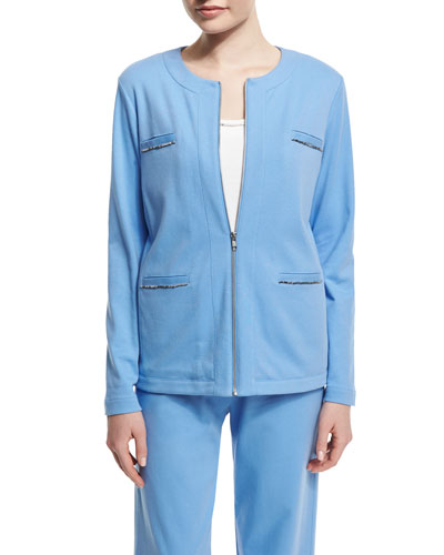 Long-Sleeve Four-Pocket Chain-Trim Jacket, Cornflower