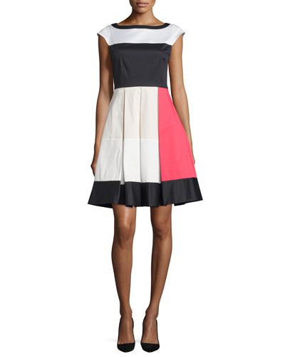 cap-sleeve colorblock dress, multi colors