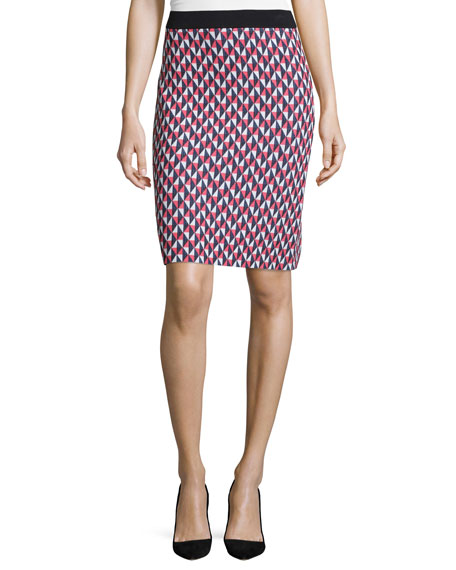 kate spade new york geometric-print pencil skirt