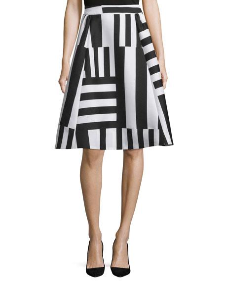 striped a-line midi skirt