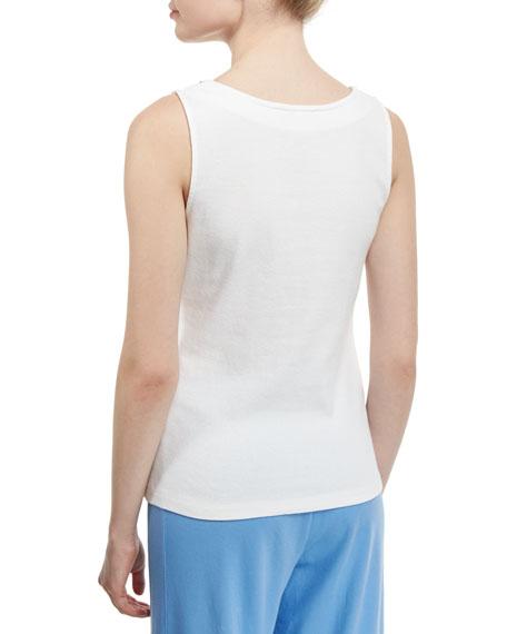 Sleeveless Chain-Trim Tank, White, Petite