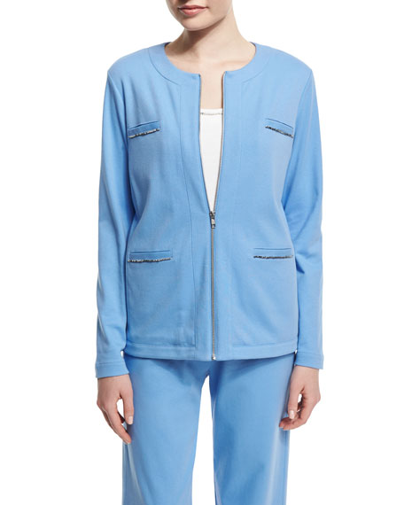 Joan Vass Long-Sleeve Four-Pocket Chain-Trim Jacket, Cornflower,