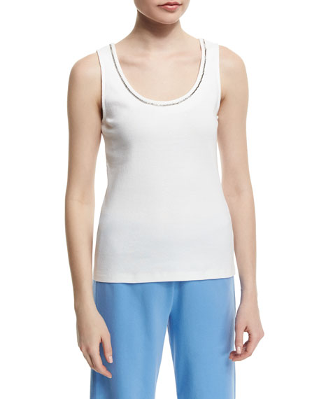 Joan Vass Sleeveless Chain-Trim Tank, White, Plus Size