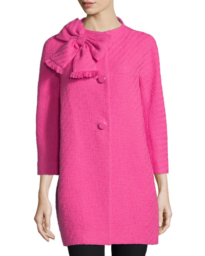 dorothy cotton-tweed bracelet-sleeve coat, night rose