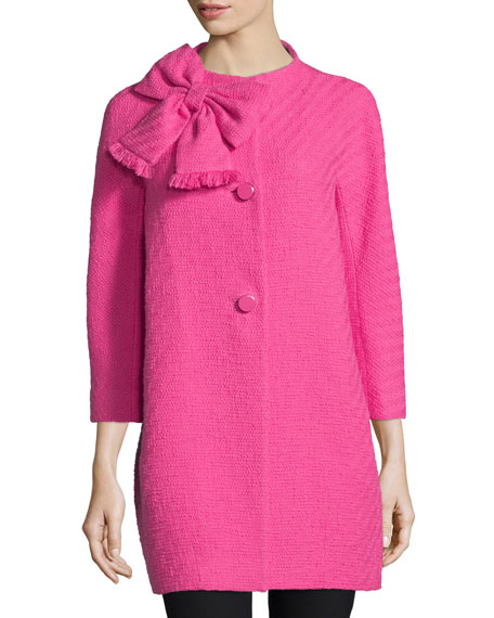 dorothy cotton-tweed bracelet-sleeve coat, night rose