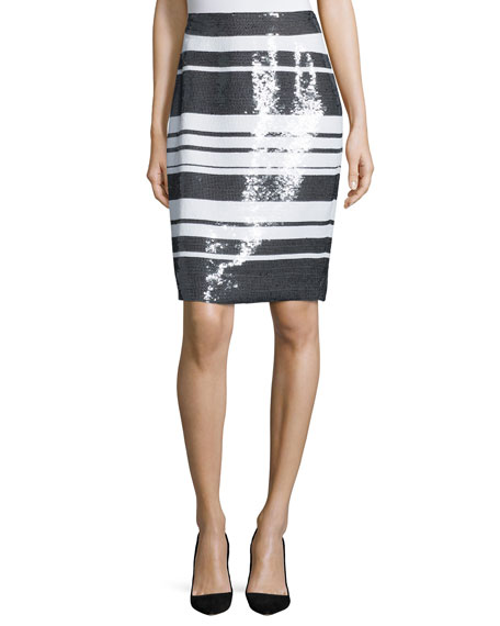kate spade new york sequined cape-stripe pencil skirt
