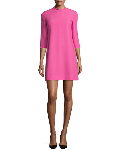dizzy 3/4-sleeve dress with ruffle trim