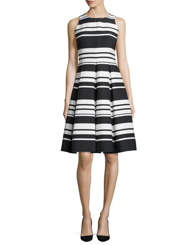 cape striped sateen dress, black/cream