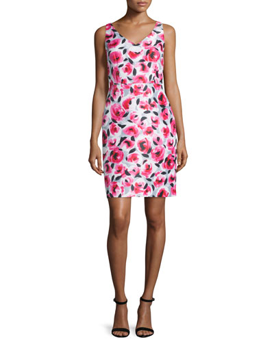 sleeveless v-neck rosebud-print sheath dress