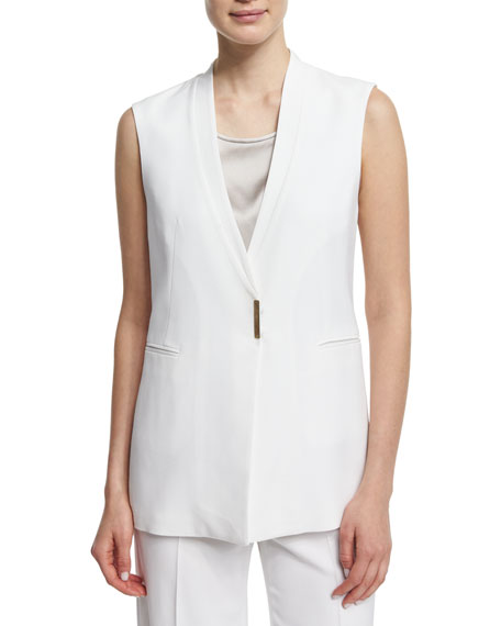 V-Neck Long Vest, White