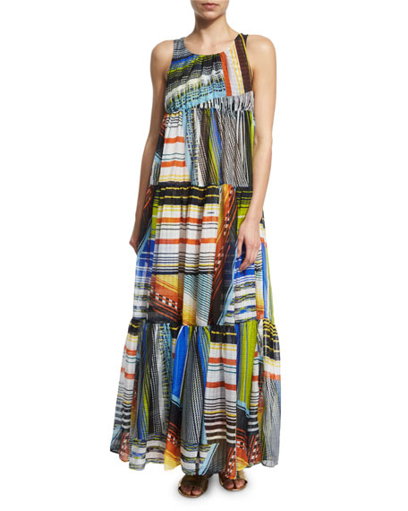 Missoni Mare Multi-Stripe Tiered Maxi Dress