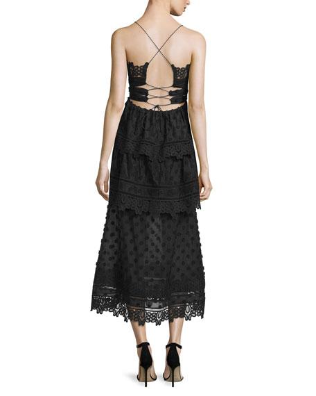 Sleeveless Lace-Trim Polka-Dot Midi Dress, Black