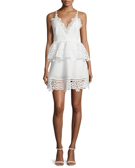 Self Portrait Sleeveless Lace-Trim Peplum Dress, White