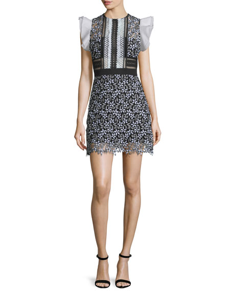 Self Portrait Sleeveless Lace Mini Dress, Black/White