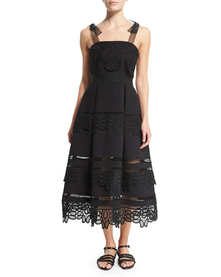 Self Portrait Sleeveless Lace-Trim Ponte Dress, Black