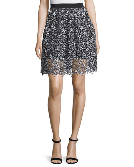 Self-Portrait Daisy Lace A-Line Skirt, Black/White