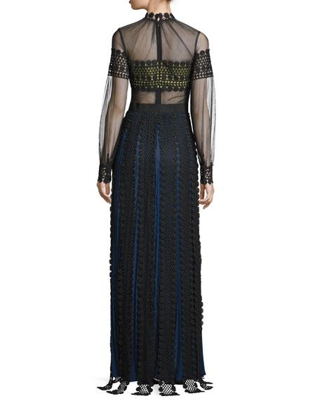 Long-Sleeve Bandeau Maxi Dress, Black