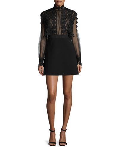 Long-Sleeve A-Line Mini Dress, Black