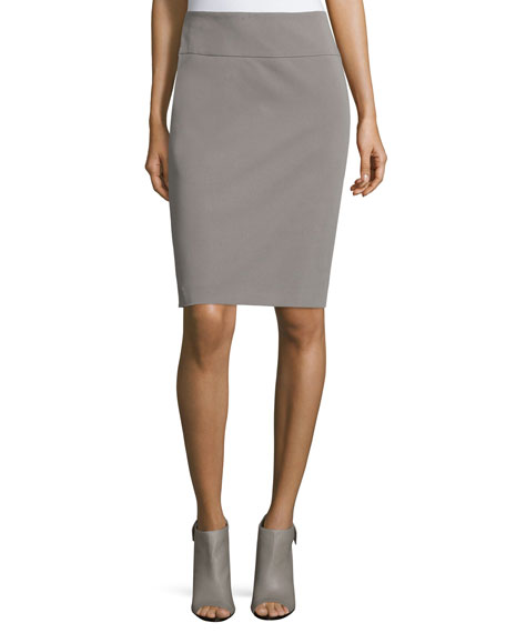 Peserico Mid-Rise Pencil Skirt, Taupe
