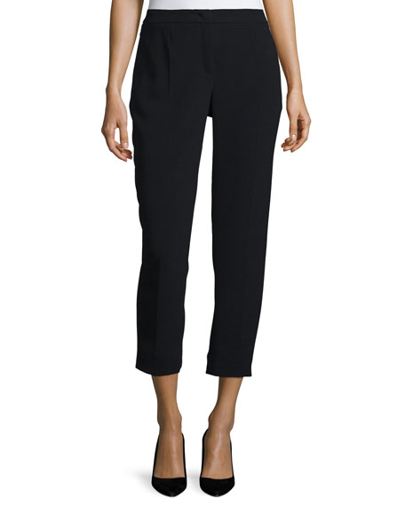 Escada Pleated-Front Cropped Pants, Black